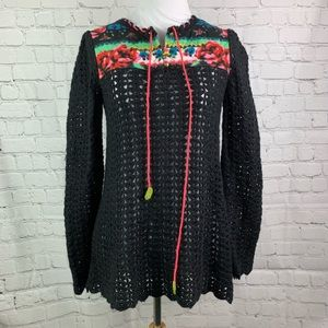 Free People Black Crochet Floral Print Sweater XS